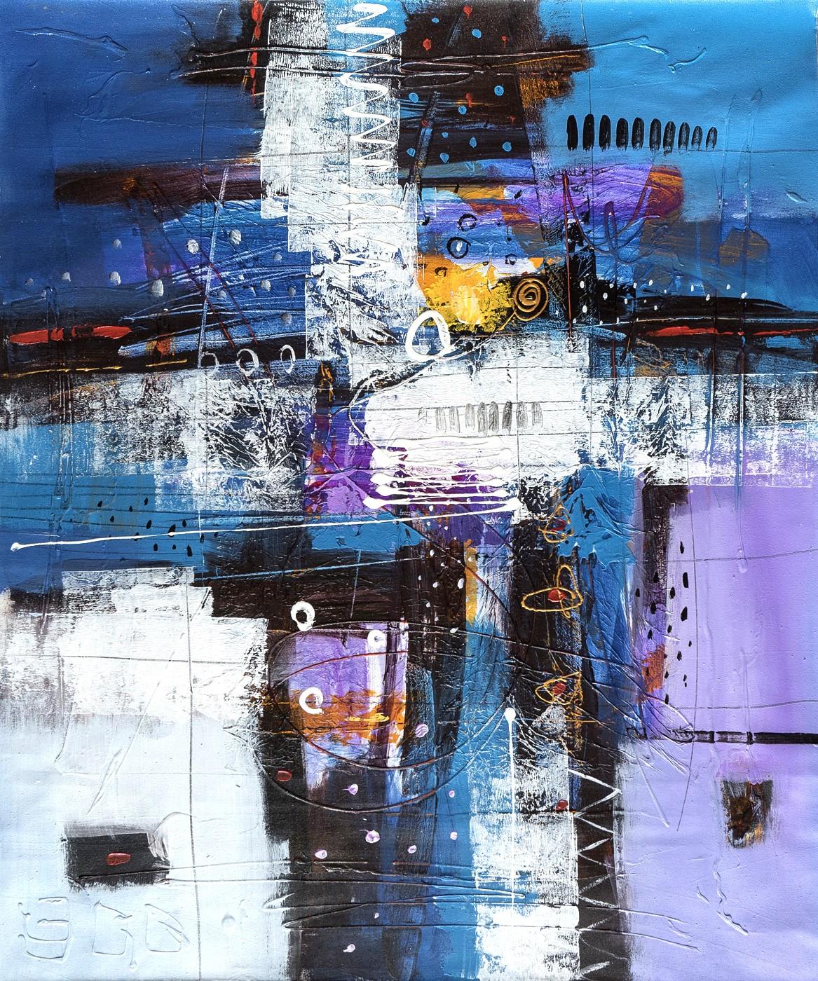 Futuristische Komposition auf Blau-Weiß-Violett
