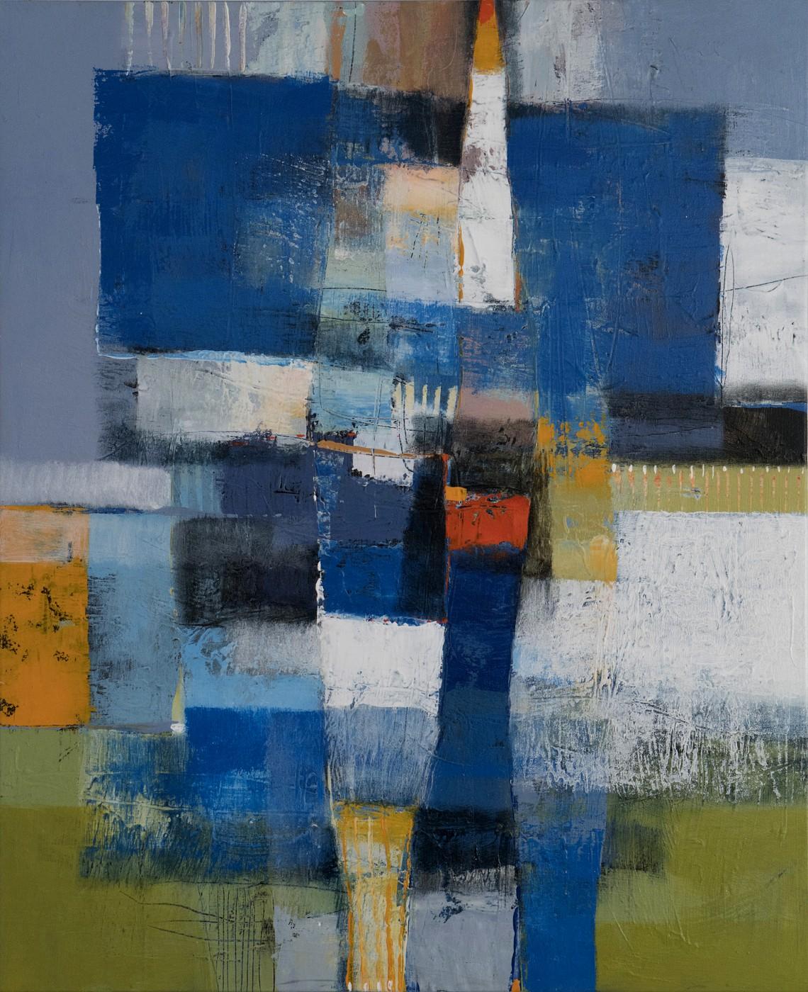 Abstrakte Komposition mit Rahmen auf Blau-Rot-Grün-Orange