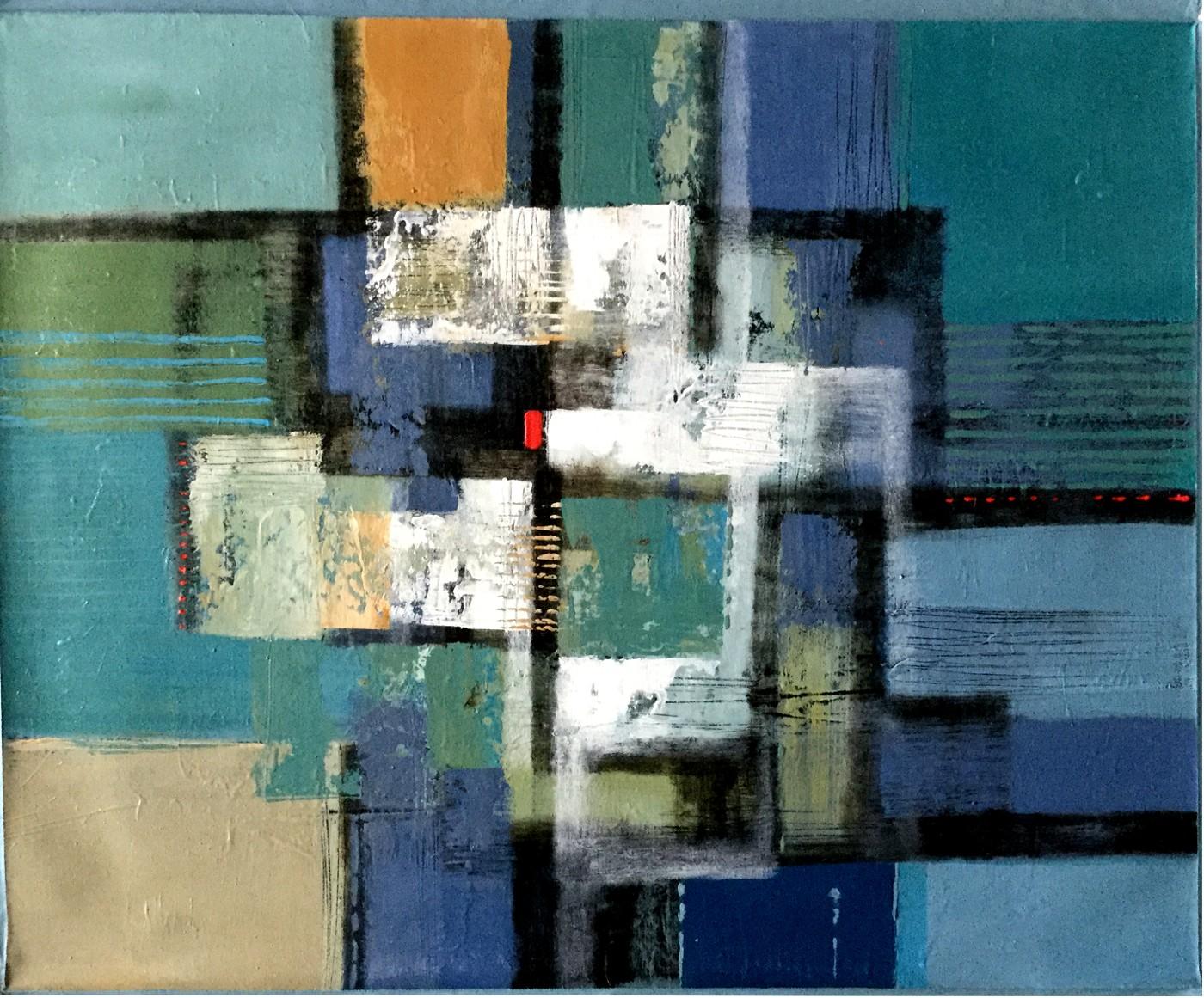 Vielfarbige abstrakte Komposition mit rotem Viereck