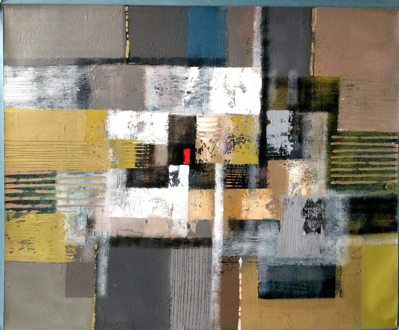 Vielfarbige abstrakte Komposition mit rotem Viereck (2)