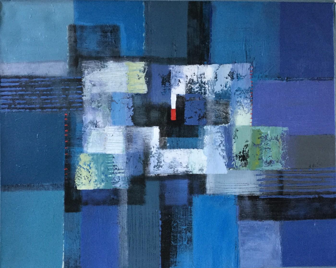 Abstrakte Komposition auf Blau mit rotem Viereck (4)