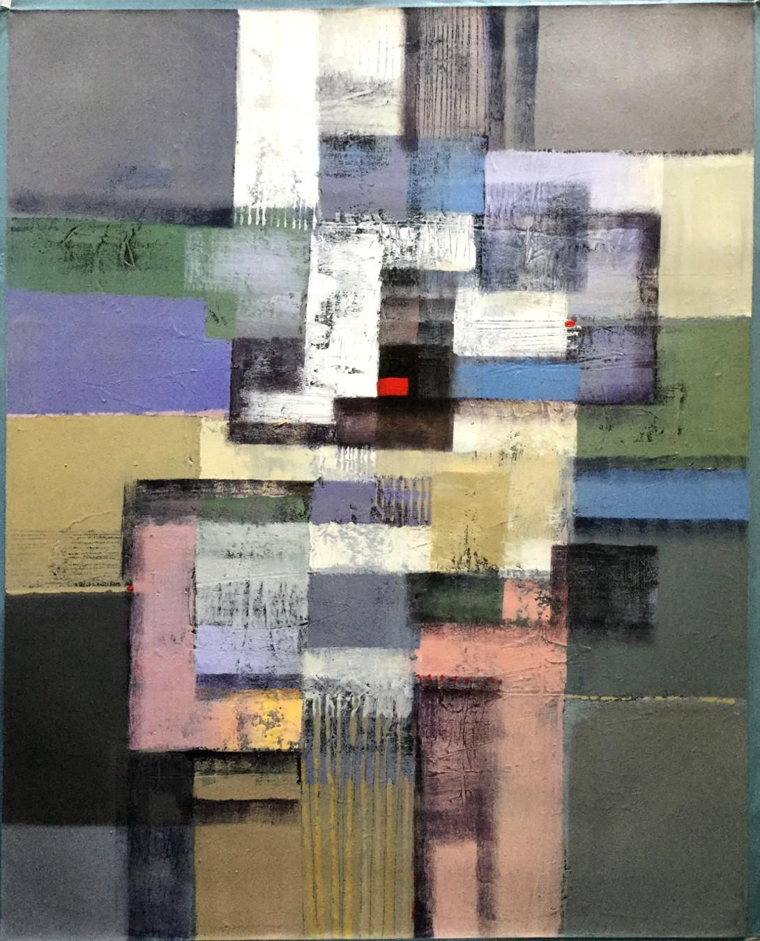 Vielfarbige abstrakte Komposition mit rotem Viereck (1)