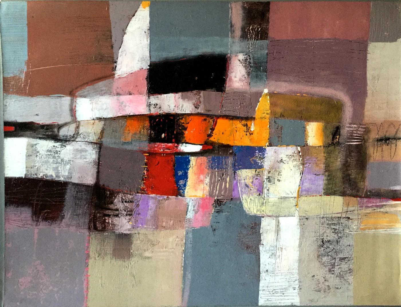 Abstrakte Komposition auf Orangegelb und Petrol-Rosa