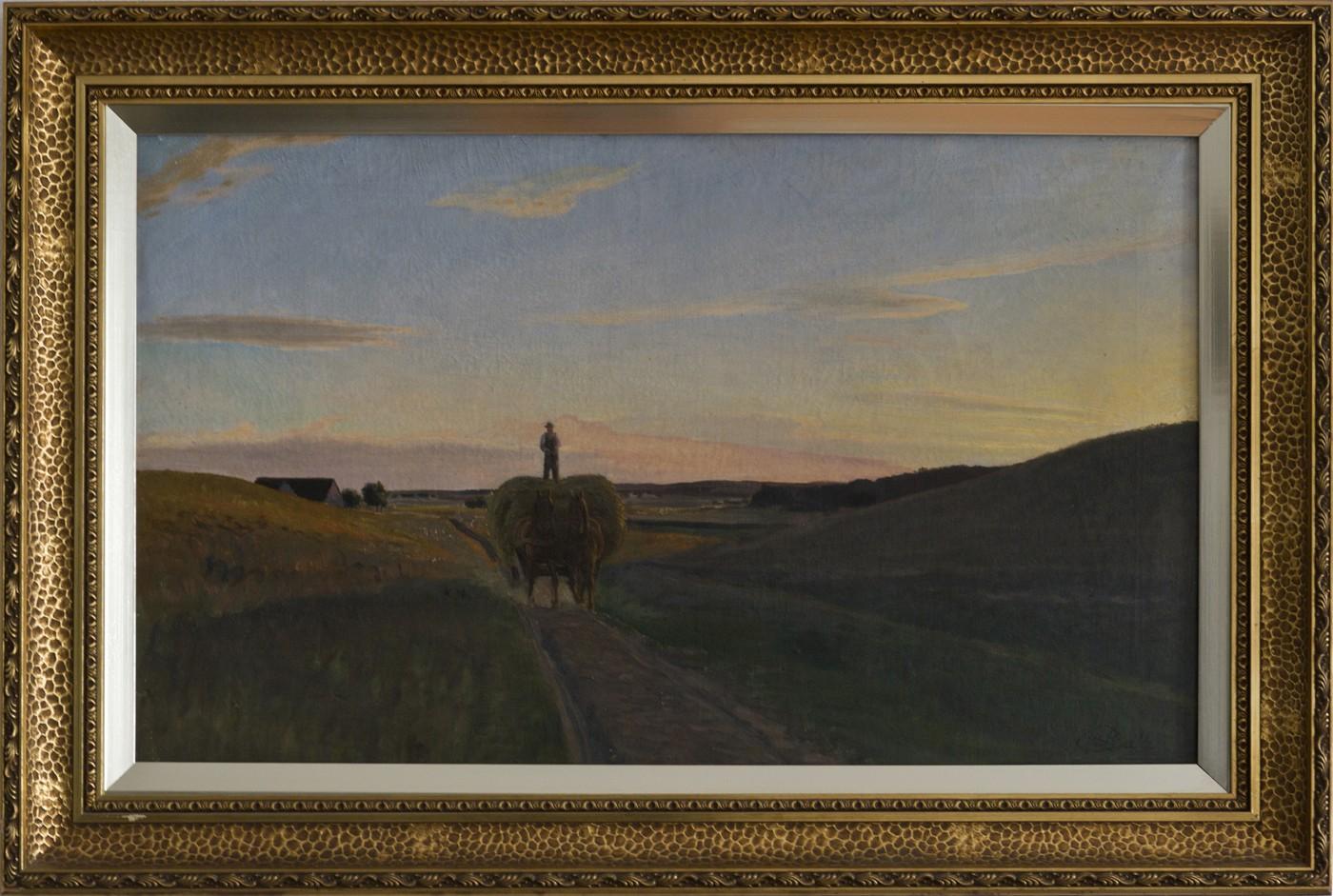 VERKAUFT! - Bauer mit Heuwagen am Abend (1901)