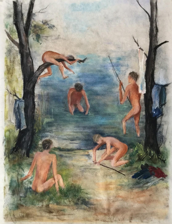 Jungen beim Angeln und Baden an einem See