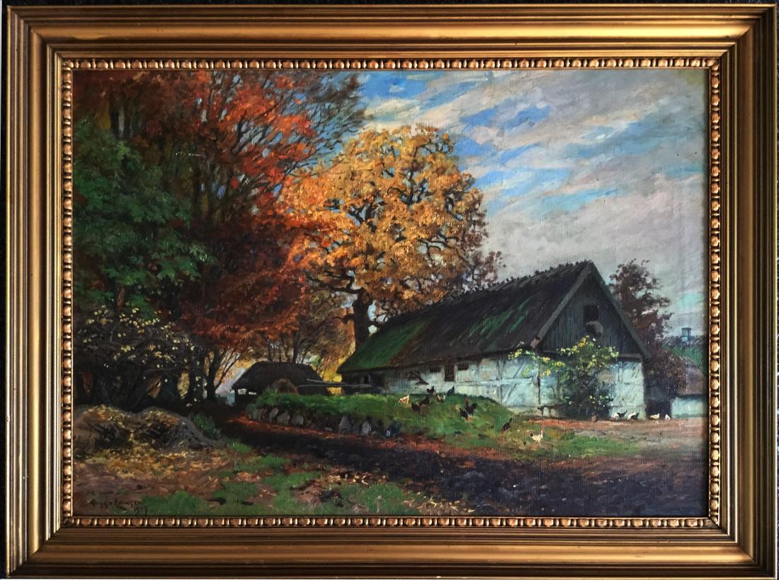Forsthaus mit Hühnern am Herbstwald