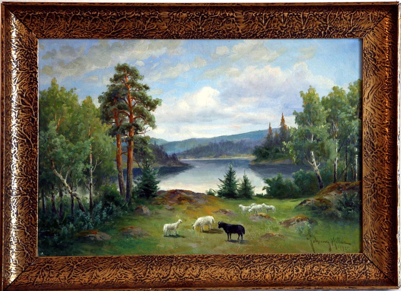 Seenlandschaft mit Schafherde in Schweden