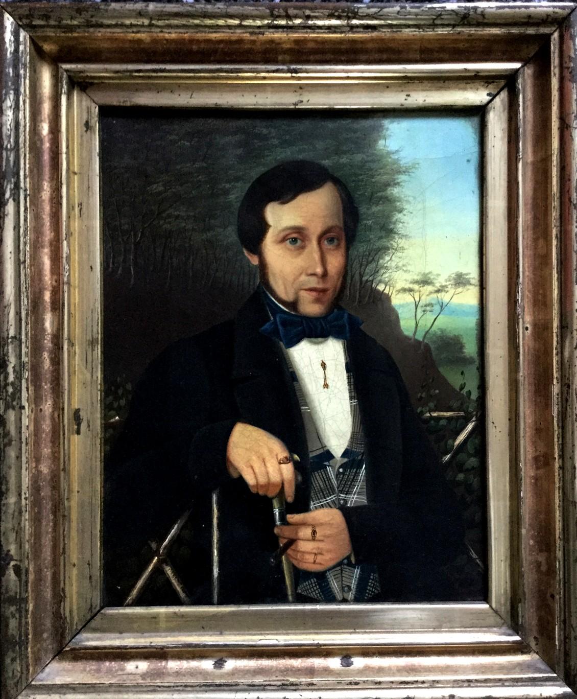 Portrait eines wohlhabenden Kaufmanns mit Zigarillo in Asien (um 1840)