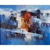 Abstrakte Komposition in Blau-Rot-Schwarz