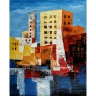 Halbabstrakte Komposition mit Hochhäusern am Hafen