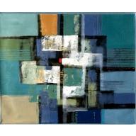 Vielfarbige abstrakte Komposition mit rotem Viereck (4)