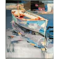 Halbabstrakte Szene eines ankernden Fischerbootes