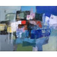 Vielfarbige Komposition in Blau-Gelb-Petrol