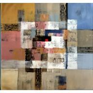 Vielfarbige abstrakte Komposition mit rotem Viereck (3)