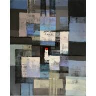 Vielfarbige abstrakte Komposition mit rotem Viereck (6)