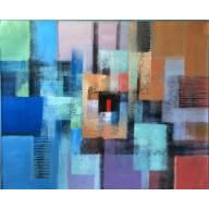 Mehrfarbige abstrakte Komposition mit rotem Viereck (8)