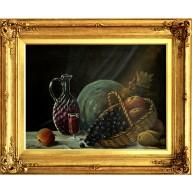 Stilleben mit Fruchtkorb und Weinkaraffe