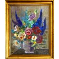 Stilleben mit Sommerblumenstauß in Steinvase (1930)