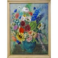Stilleben mit Blumenstrauß in grüner Vase