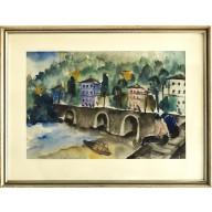Personen vor Brücke in Frankreich (1925)