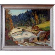 Flusslauf mit Staumauer