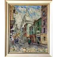 Flaneure am Pariser Montmartre mit Sacré-Coeur (1952)