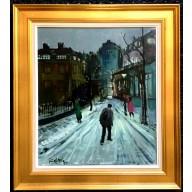 Winterliche Straßenszene am Pariser Montmartre