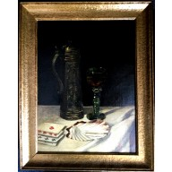 Stilleben mit Krug, Weinglas, Muschelschale und Spielkarten (1897)