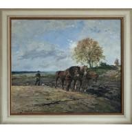 Pflügender Bauer mit Pferden