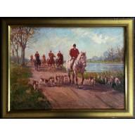 Reiter mit Pferden und Hunden am herbstlichen Flussufer
