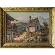 Hochgebirge mit Gehöft und Kapelle