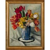 Art-Déco-Stilleben mit vielfarbigem Tulpenstrauß in blauer Vase
