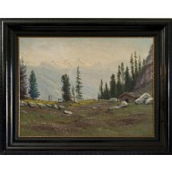 Sommerliche Alpen mit Berghütten (1927)