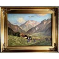 Drei junge Sennerinnen auf einer Alpenwiese mit fernem Dorf