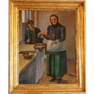 Kücheninterieur mit Hausfrau und Magd (1924)