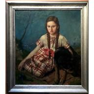 Mädchen mit Schäferhund in blühender Landschaft (1936)