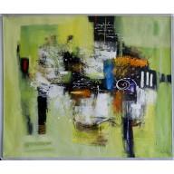 Abstrakte Komposition in Grün-Gold