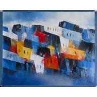 Halbabstrakte Komposition mit Häusern