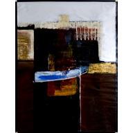 Abstrakte Komposition mit blauem Querstrich