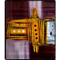 Abstrakte Komposition mit gelben Türmen und schwarzen Punkten