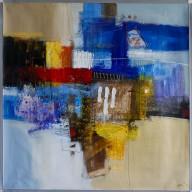 Abstrakte Komposition mit 3 weißen Strichen